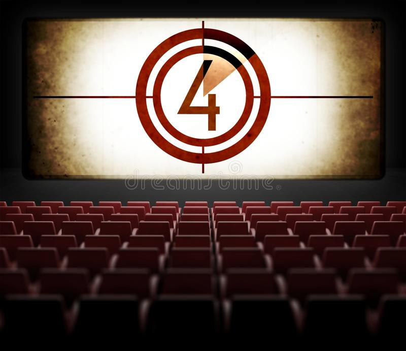 Αντίστροφη μέτρηση οθόνης κινηματογράφων στον παλαιό αναδρομικό κινηματογράφο διανυσματική απεικόνιση