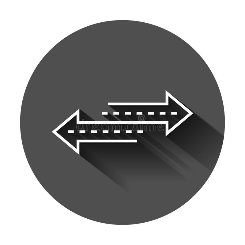 Αντίστροφο εικονίδιο σημαδιών βελών στο επίπεδο ύφος Αναζωογονήστε τη διανυσματική απεικόνιση στο μαύρο στρογγυλό υπόβαθρο με τη  απεικόνιση αποθεμάτων