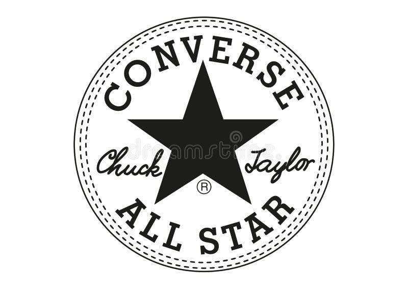Αντίστροφο τσοκ Taylor όλο το λογότυπο αστεριών διανυσματική απεικόνιση
