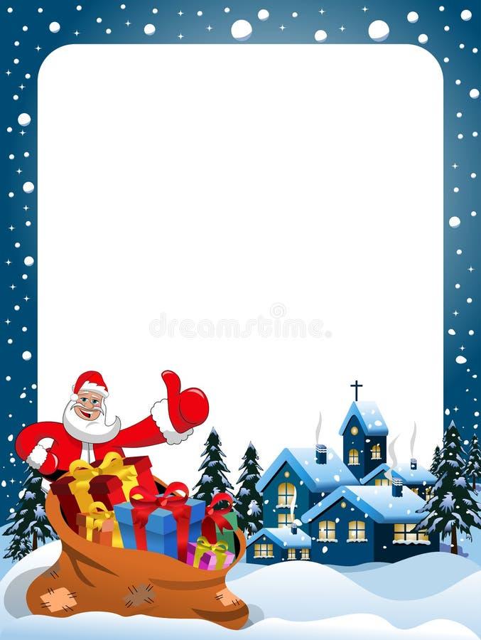Αντίχειρας Άγιου Βασίλη πλαισίων Χριστουγέννων επάνω στη νύχτα Χριστουγέννων απεικόνιση αποθεμάτων