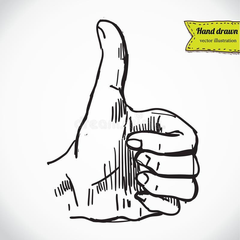 Αντίχειρας επάνω στο σύμβολο χεριών Διανυσματική απεικόνιση σκίτσων σχεδίων χεριών διανυσματική απεικόνιση