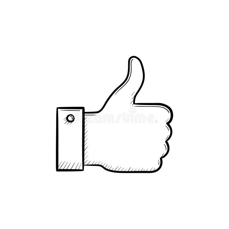 Αντίχειρας επάνω συρμένο στο χέρι εικονίδιο περιλήψεων doodle απεικόνιση αποθεμάτων