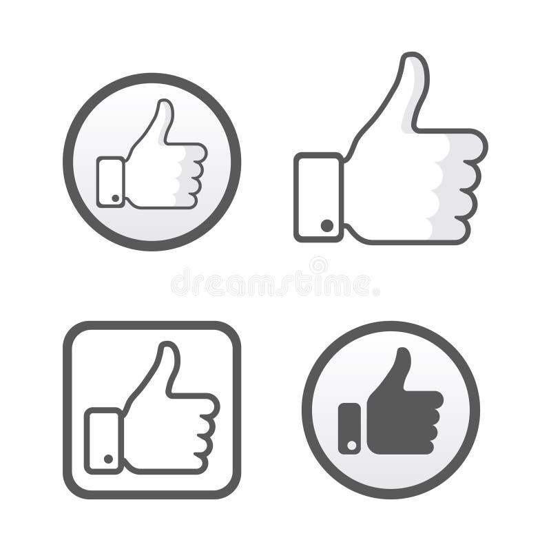 Αντίχειρας επάνω, όπως το διανυσματικό σύνολο εικονιδίων, κοινωνικό δίκτυο διανυσματική απεικόνιση