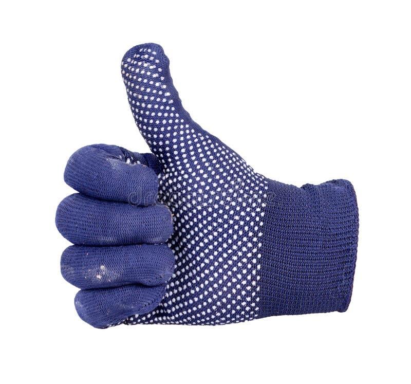 Αντίχειρας που παρουσιάζει με το χέρι με το μπλε και άσπρο πλέκοντας μαλλί γ σημείων στοκ φωτογραφίες