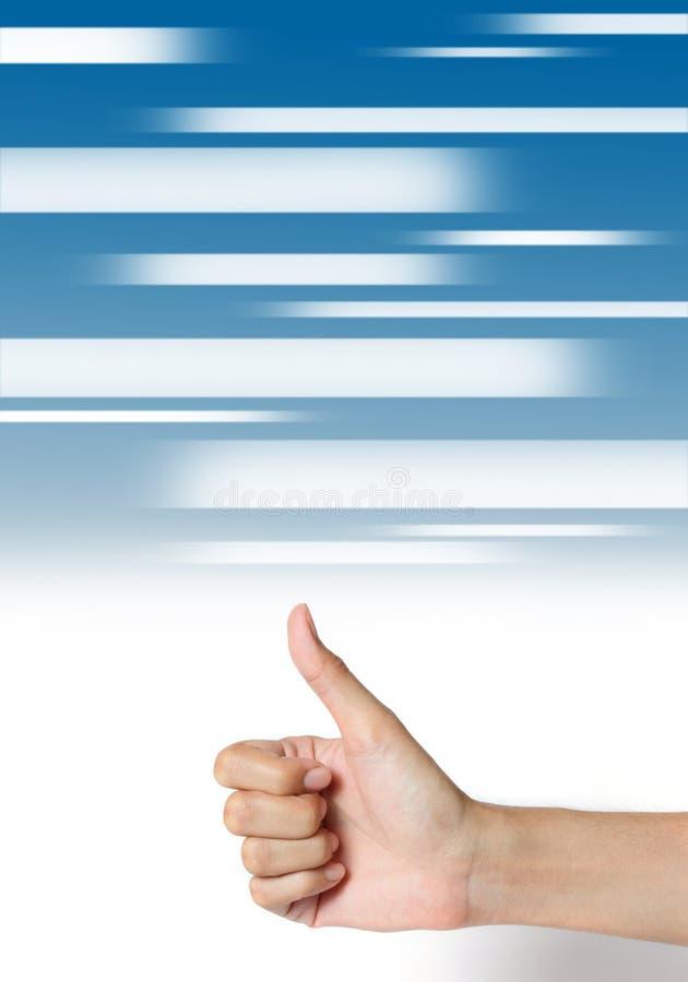 Αντίχειρας χεριών επάνω στην αφηρημένη μπλε ανασκόπηση μέσων. στοκ φωτογραφία με δικαίωμα ελεύθερης χρήσης