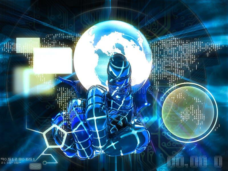 Αντίχειρας Cyber που δείχνει την τρισδιάστατη απεικόνιση οθόνης διανυσματική απεικόνιση