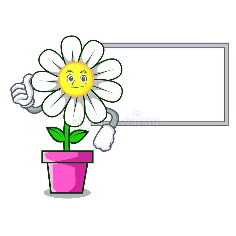 Αντίχειρες επάνω με τα κινούμενα σχέδια χαρακτήρα λουλουδιών μαργαριτών πινάκων απεικόνιση αποθεμάτων