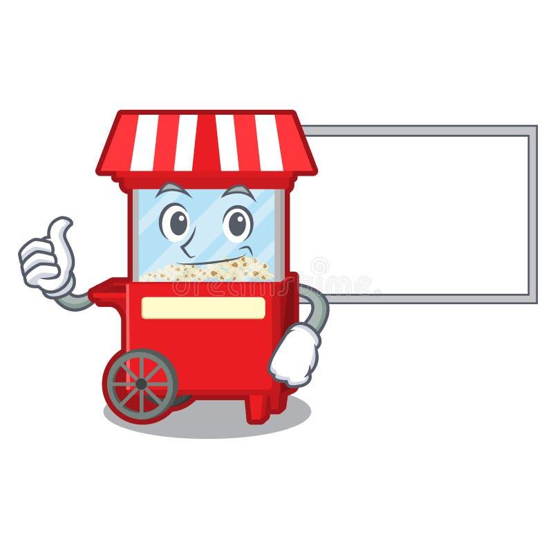 Αντίχειρες επάνω με τη μηχανή πινάκων popcron στη μορφή χαρακτήρα ελεύθερη απεικόνιση δικαιώματος