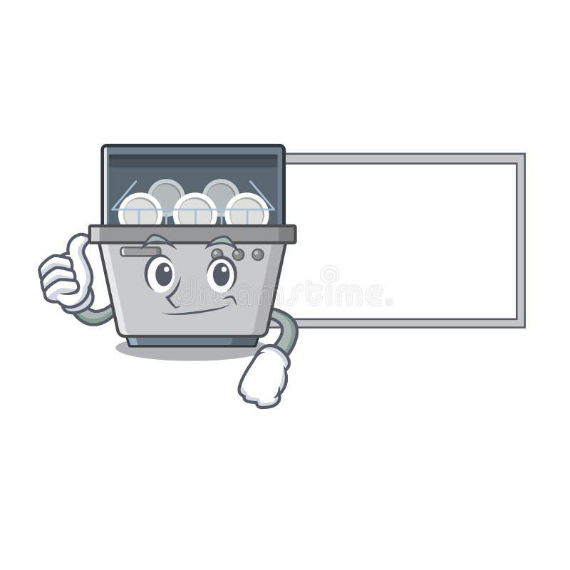 Αντίχειρες επάνω με τη μηχανή πλυντηρίων πιάτων μασκότ πινάκων στην κουζίνα ελεύθερη απεικόνιση δικαιώματος