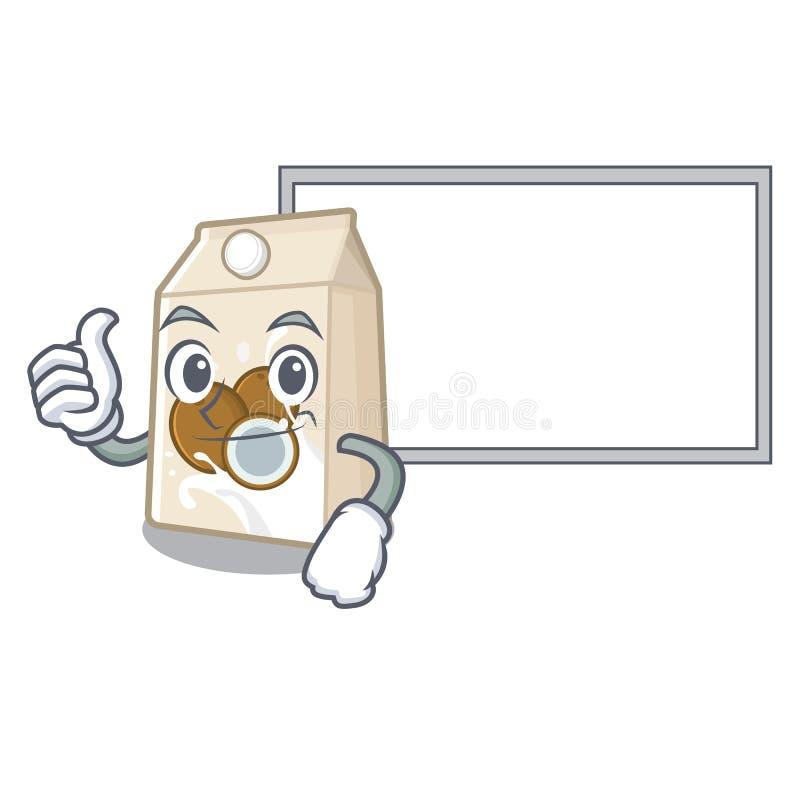 Αντίχειρες επάνω με το γάλα καρύδων πινάκων σε ένα μπουκάλι κινούμενων σχεδίων διανυσματική απεικόνιση