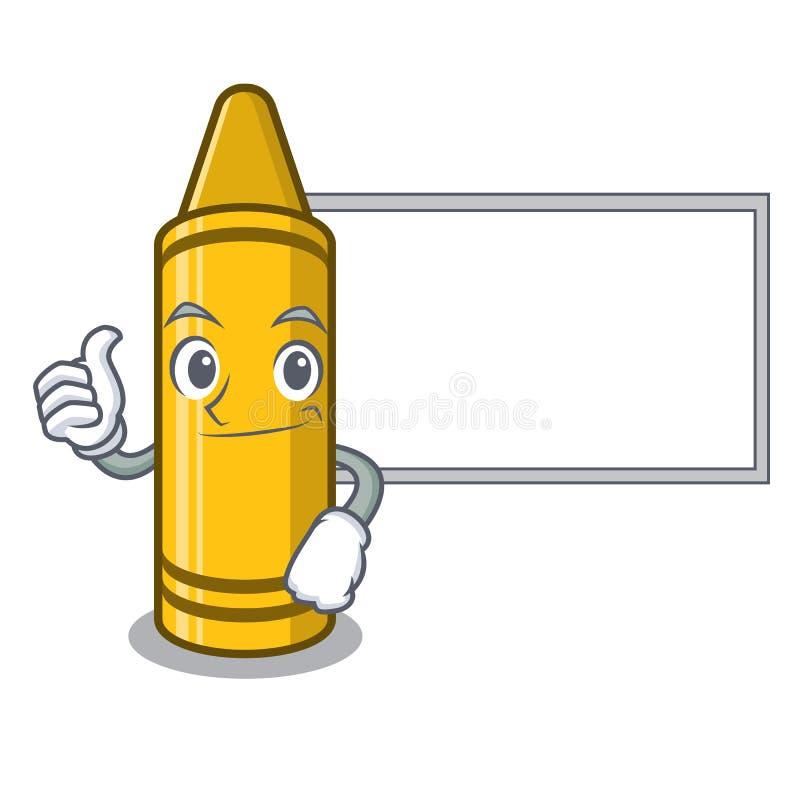 Αντίχειρες επάνω με το κίτρινο κραγιόνι πινάκων στην καρέκλα χαρακτήρα διανυσματική απεικόνιση