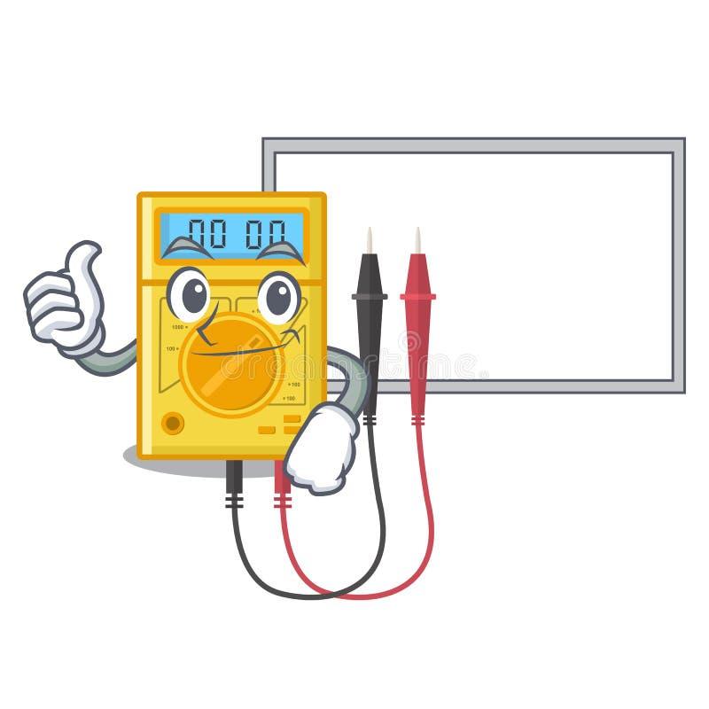Αντίχειρες επάνω με το ψηφιακό πολύμετρο πινάκων στο ντουλάπι μασκότ διανυσματική απεικόνιση