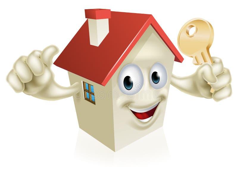 Αντίχειρες επάνω στο σπίτι με το κλειδί απεικόνιση αποθεμάτων
