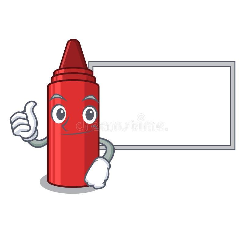 Αντίχειρες επάνω το κόκκινο κραγιόνι πινάκων που απομονώνεται με με τη μασκότ ελεύθερη απεικόνιση δικαιώματος