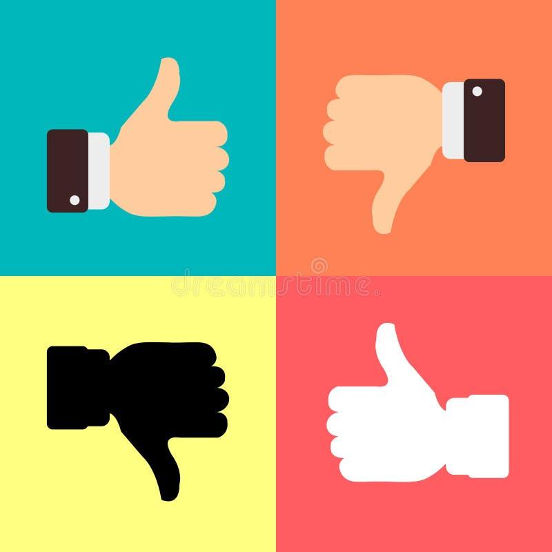 Αντίχειρες επάνω όπως τα εικονίδια απέχθειας για τον κοινωνικό Ιστό app δικτύων όπως Χέρι συμβόλων με τον αντίχειρα επάνω Διανυσμ ελεύθερη απεικόνιση δικαιώματος