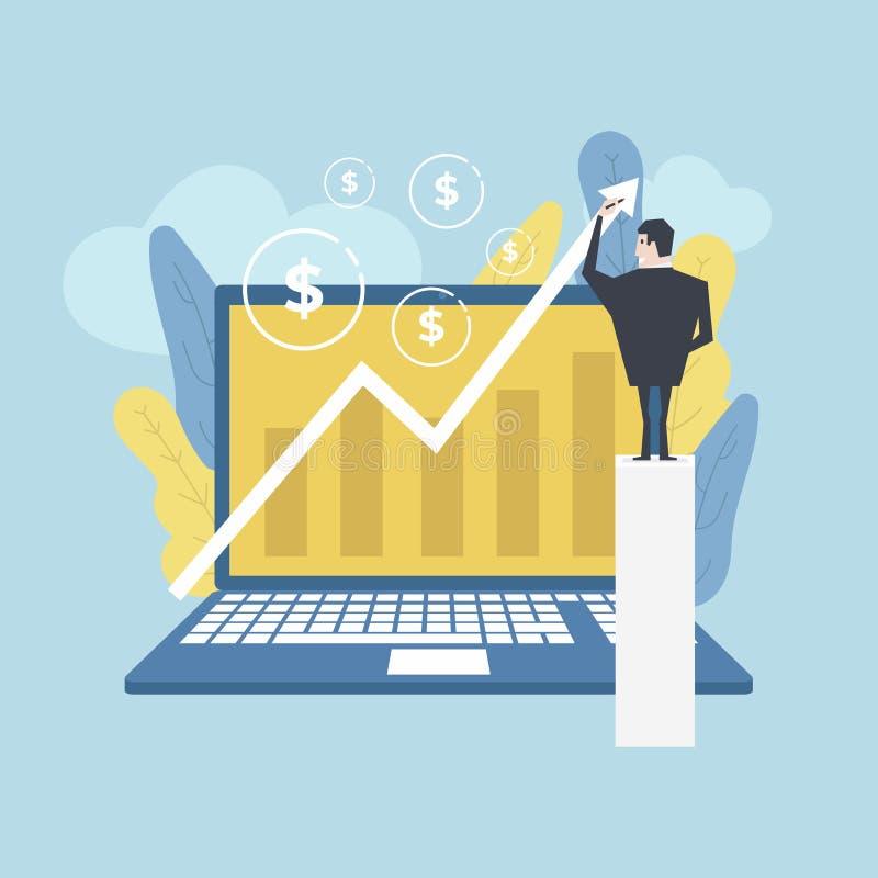 Αντίχειρες επιχειρηματιών επάνω με το καλό κείμενο εργασίας Γραφική παράσταση σχεδίων επιχειρηματιών της αύξησης στο lap-top υπολ ελεύθερη απεικόνιση δικαιώματος