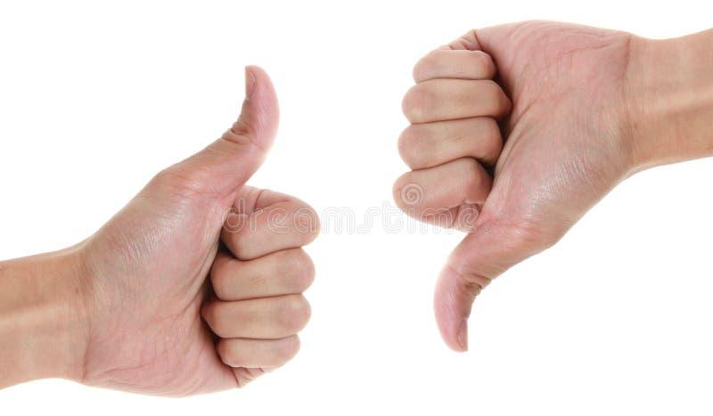 Αντίχειρες πάνω-κάτω στοκ εικόνα με δικαίωμα ελεύθερης χρήσης