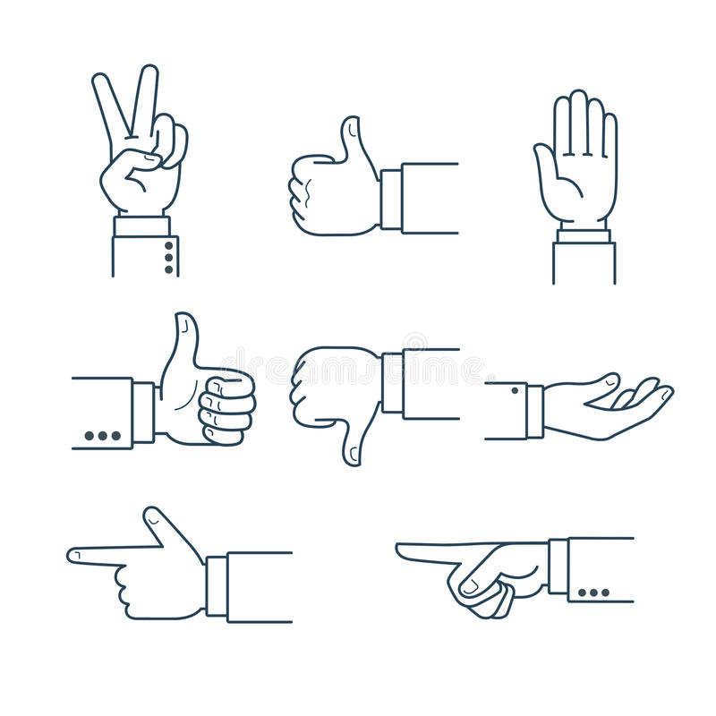 Αντίχειρες χειρονομίας χεριών τέχνης γραμμών επάνω όπως το σύμβολο εντάξει β διανυσματική απεικόνιση