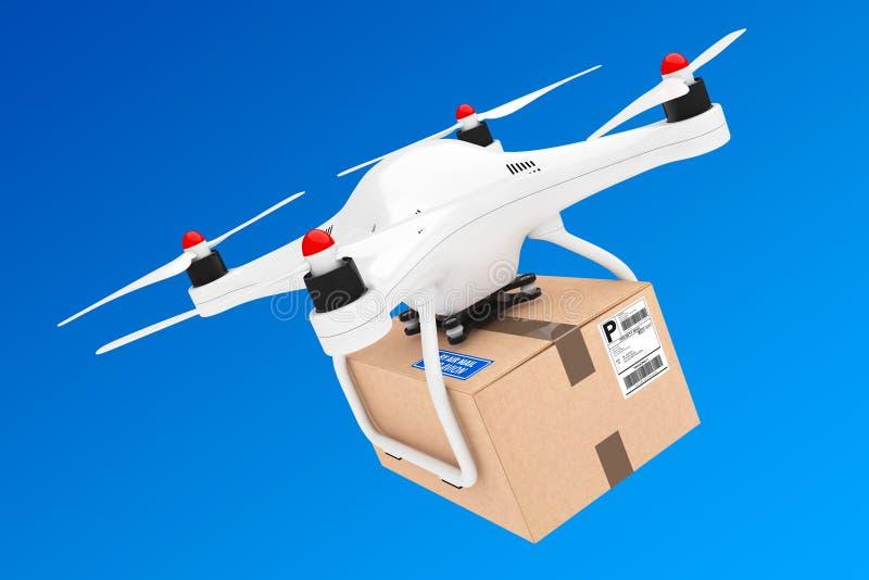 Αντίληψη ναυτιλίας Percel Κηφήνες Quadrocopter που παραδίδουν ένα δέμα απεικόνιση αποθεμάτων