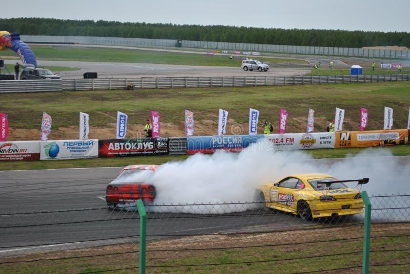 Ανταγωνισμοί συντονισμού της Nissan Silvia Sportscar στα συντονισμένα αυτοκίνητα στην κλίση RDS στοκ εικόνες με δικαίωμα ελεύθερης χρήσης