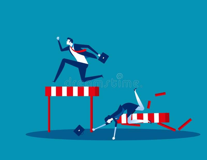 Ανταγωνισμός επιχειρήσεις, Ιδέα απεικόνιση επιχειρηματικού φορέα, Επίπεδη επαγγελματική γελοιογραφία, Ήττα, Απώλεια, Ανταγωνισμός διανυσματική απεικόνιση