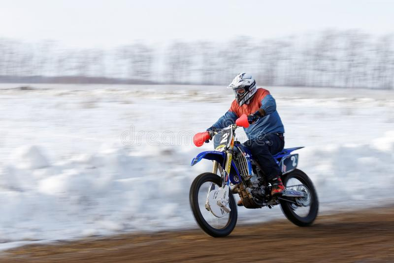 Ανταγωνισμός χειμερινού μοτοκρός στοκ φωτογραφία