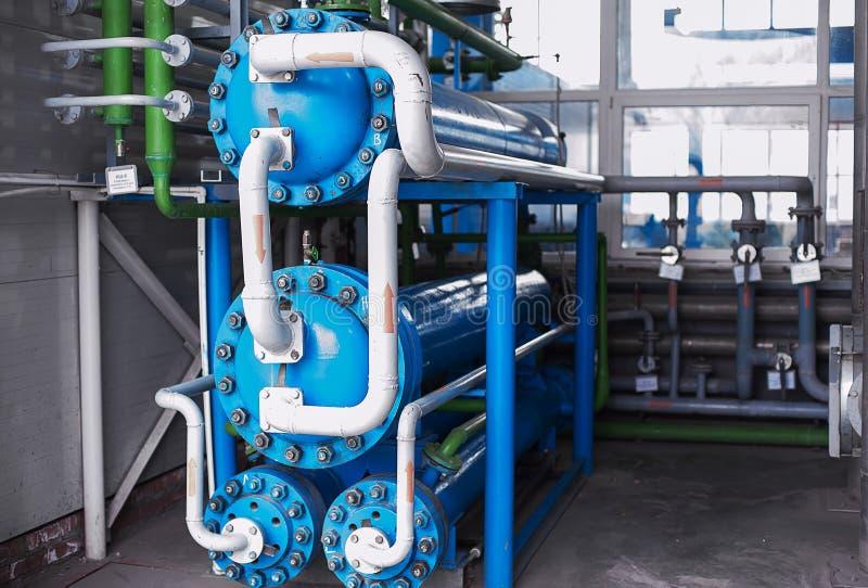 Ανταλλάκτης θερμότητας Μονάδα χωρισμού αέρα ryogenic βιομηχανικές εγκαταστάσεις Υγρό εργοστάσιο οξυγόνου Σωλήνας και σκάφος στοκ εικόνα