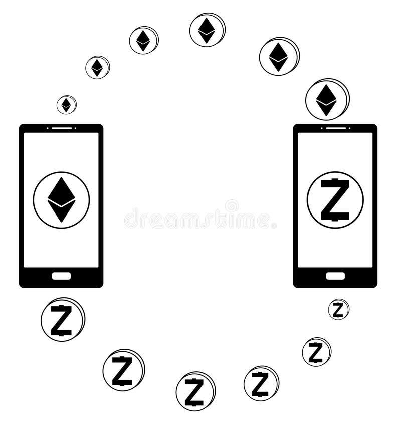 Ανταλλαγή μεταξύ του ethereum και zcash στο τηλέφωνο διανυσματική απεικόνιση
