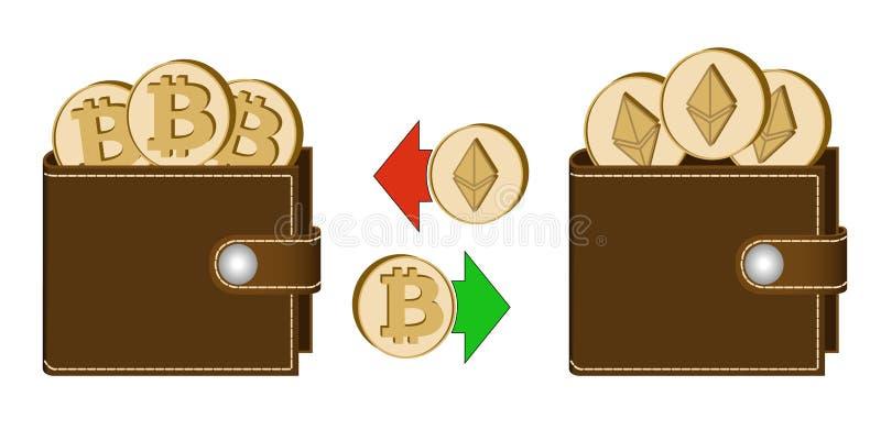 Ανταλλαγή bitcoin στο ethereum μεταξύ των πορτοφολιών ελεύθερη απεικόνιση δικαιώματος