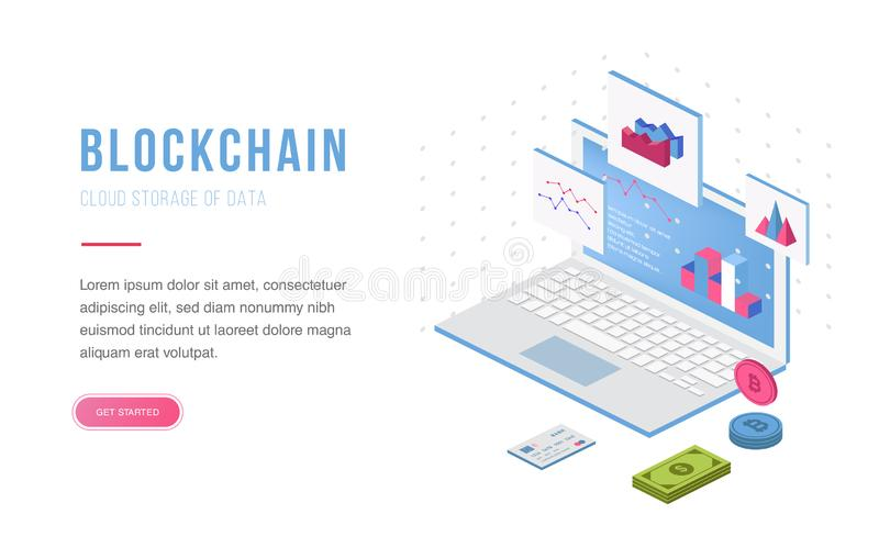 Ανταλλαγή Cryptocurrency και blockchain isometric σύνθεση Αγαθό για το προσγειωμένος πρότυπο σελίδων και το διάνυσμα infographics διανυσματική απεικόνιση