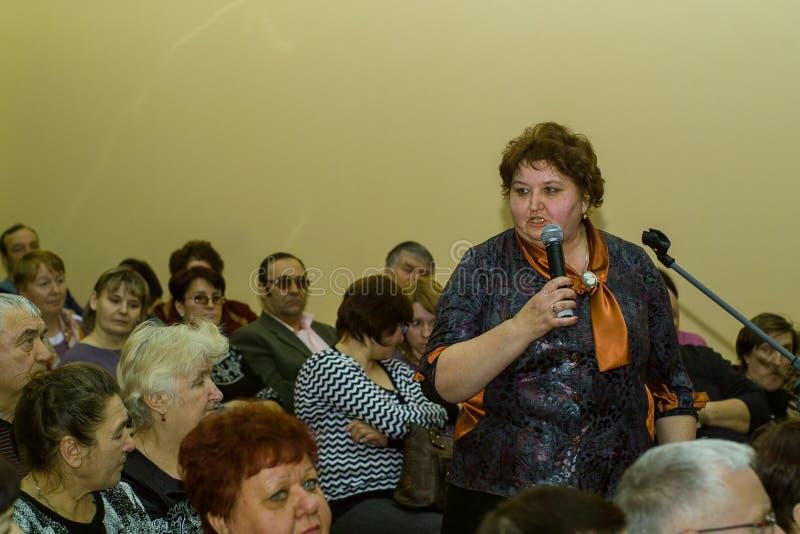 Ανταμοιβή των καλύτερων υπαλλήλων των δημοτικών υπηρεσιών στην περιοχή Iznoskovsky, περιοχή Kaluga της Ρωσίας στοκ φωτογραφία