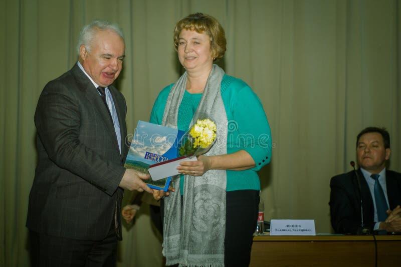 Ανταμοιβή των καλύτερων υπαλλήλων των δημοτικών υπηρεσιών στην περιοχή Iznoskovsky, περιοχή Kaluga της Ρωσίας στοκ φωτογραφίες με δικαίωμα ελεύθερης χρήσης