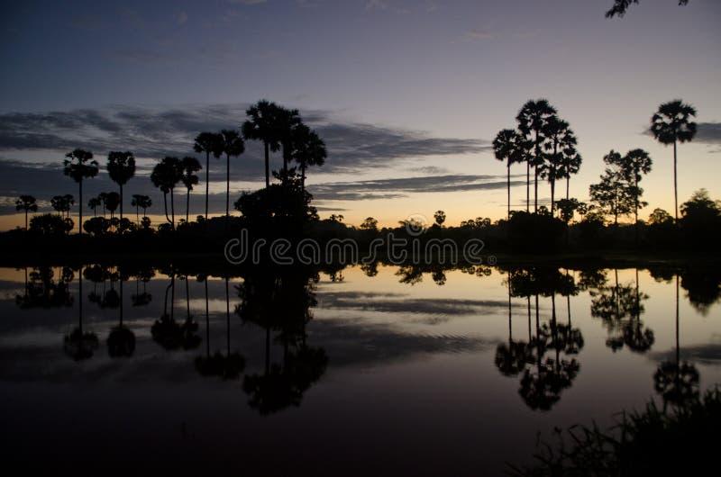Αντανάκλαση ανατολής σε μια λίμνη στοκ εικόνα