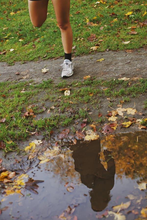 Αντανάκλαση της νέας γυναίκας σε μια λακκούβα του νερού στο πάρκο στοκ εικόνα