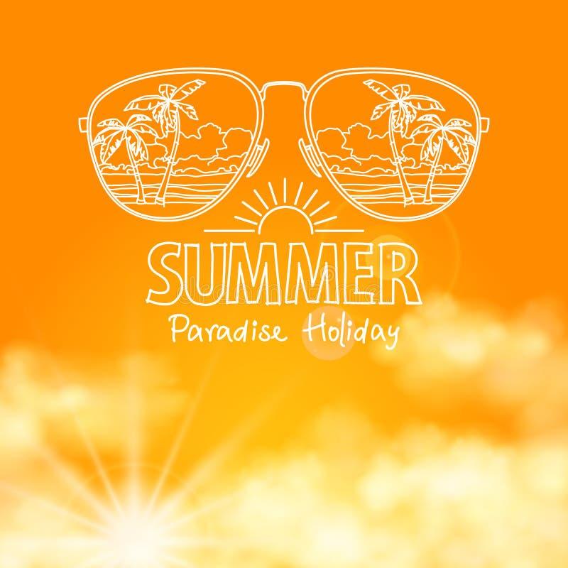 Αντανάκλαση της παραλίας στο ηλιόλουστο πορτοκάλι γυαλιών ηλίου απεικόνιση αποθεμάτων