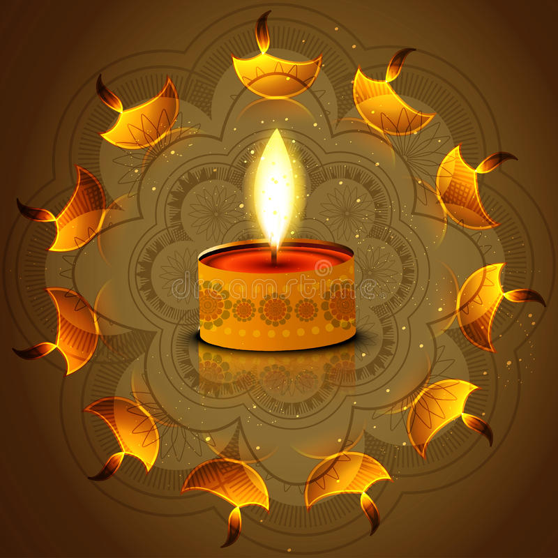 Αντανάκλαση diya φεστιβάλ Diwali στο καλλιτεχνικό ζωηρόχρωμο υπόβαθρο ελεύθερη απεικόνιση δικαιώματος