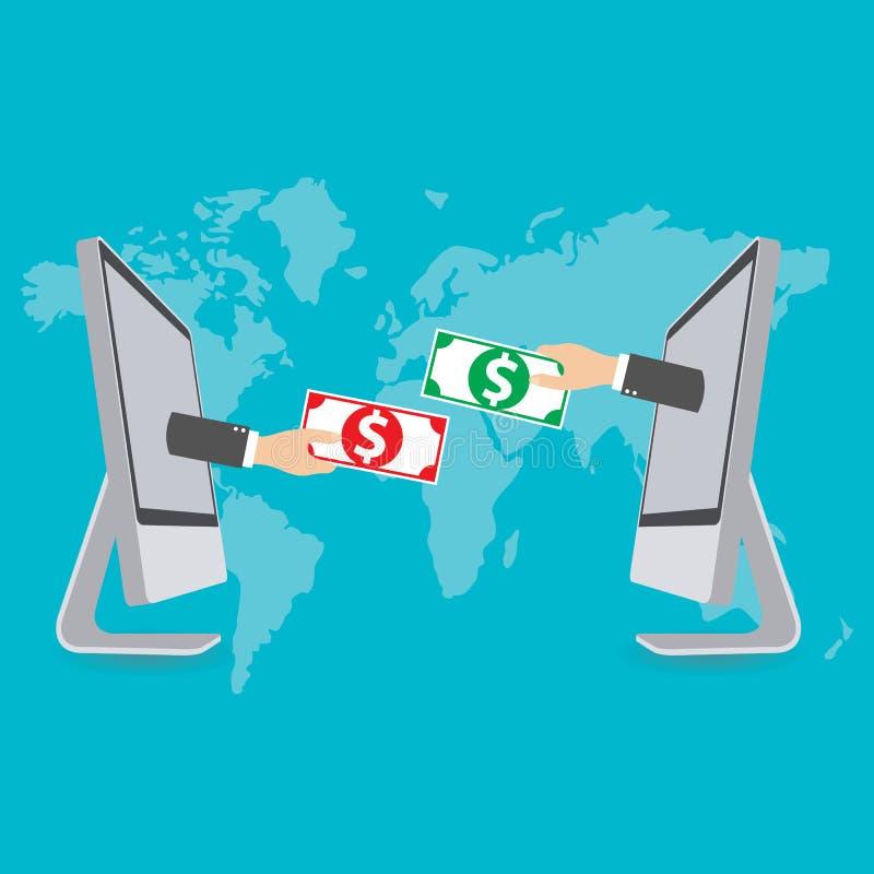 Ανταλλαγή χρημάτων, έννοια για το ηλεκτρονικό εμπόριο, διάνυσμα διανυσματική απεικόνιση