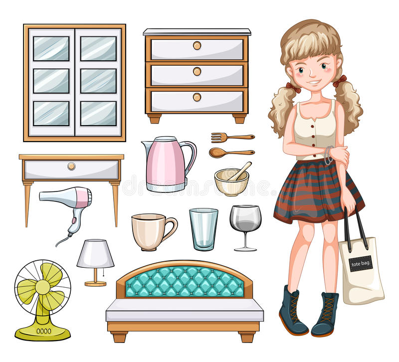 Αντικείμενα γυναικών και οικογένειας διανυσματική απεικόνιση