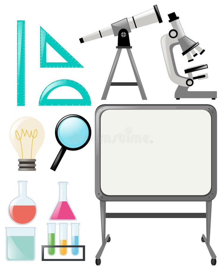 Αντικείμενα επιστήμης και whiteboard διανυσματική απεικόνιση