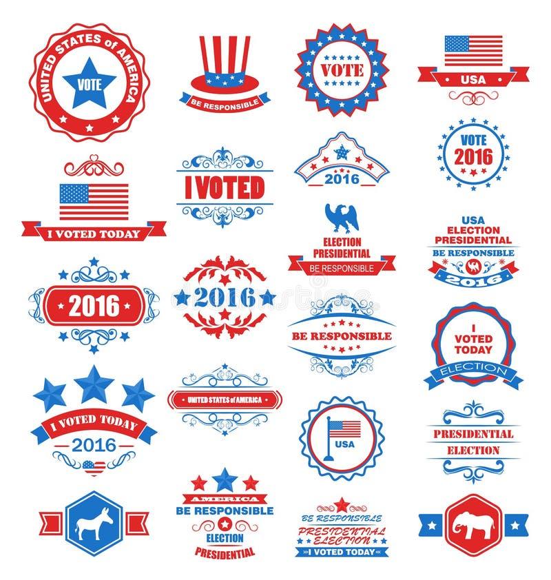 Αντικείμενα και σύμβολα για την ψηφοφορία των ΗΠΑ διανυσματική απεικόνιση