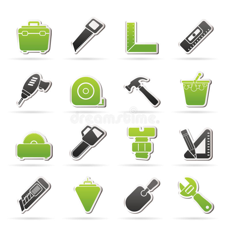 Αντικείμενα κατασκευής και εικονίδια εργαλείων ελεύθερη απεικόνιση δικαιώματος