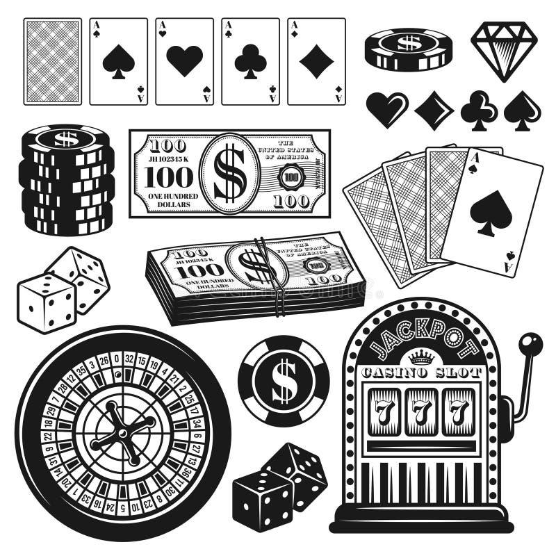 Αντικείμενα παιχνιδιού πόκερ και χαρτοπαικτικών λεσχών, στοιχεία σχεδίου διανυσματική απεικόνιση