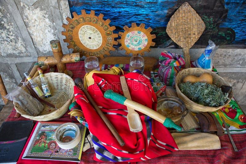 Αντικείμενα που χρησιμοποιούνται για το shamanic τελετουργικό στη Γουατεμάλα στοκ εικόνα