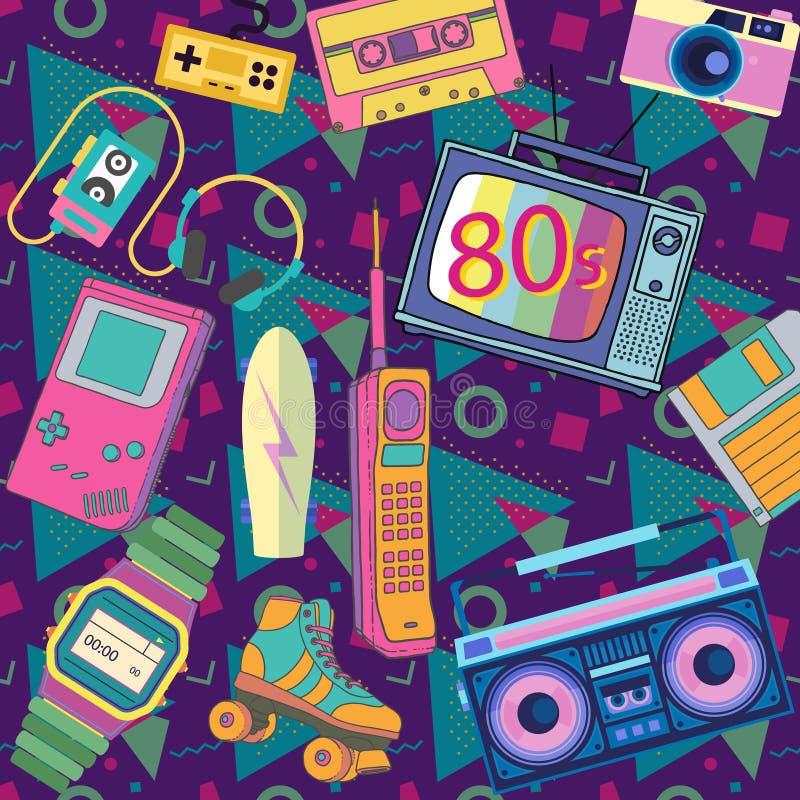 Αντικείμενα της δεκαετίας του '80 δεκαετίας του '80 διανυσματική απεικόνιση