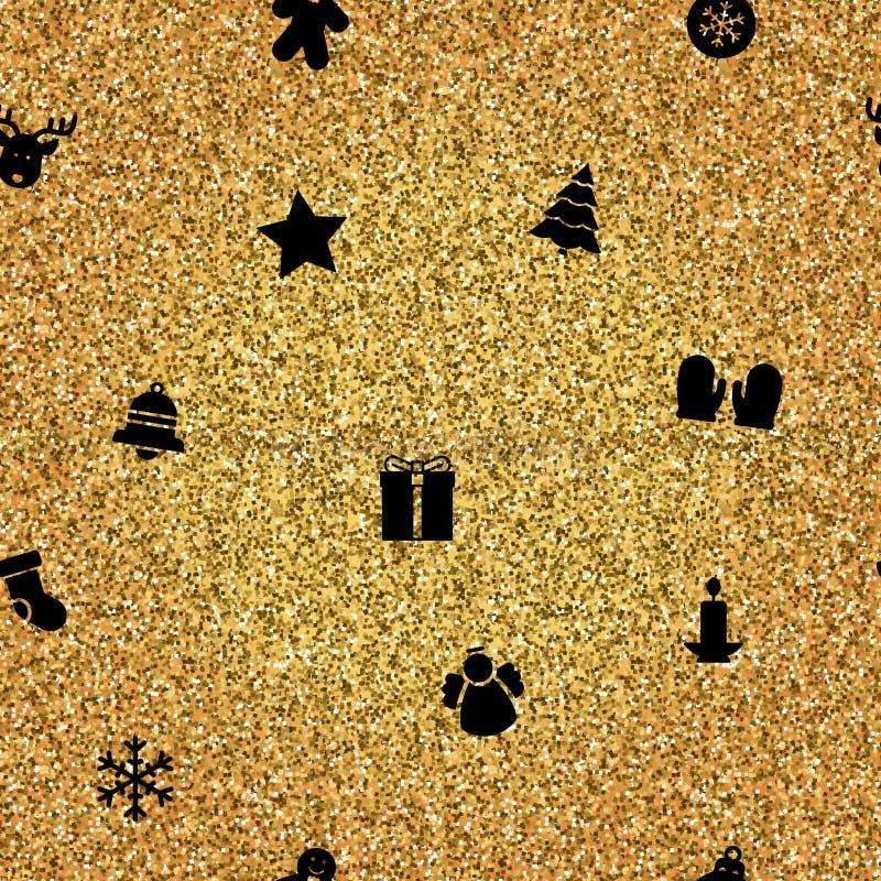 Αντικείμενα Χριστουγέννων στο χρυσό υπόβαθρο διανυσματική απεικόνιση