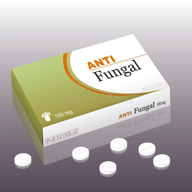 Αντιμυκητιακά χάπια συσκευασίας διανυσματική απεικόνιση