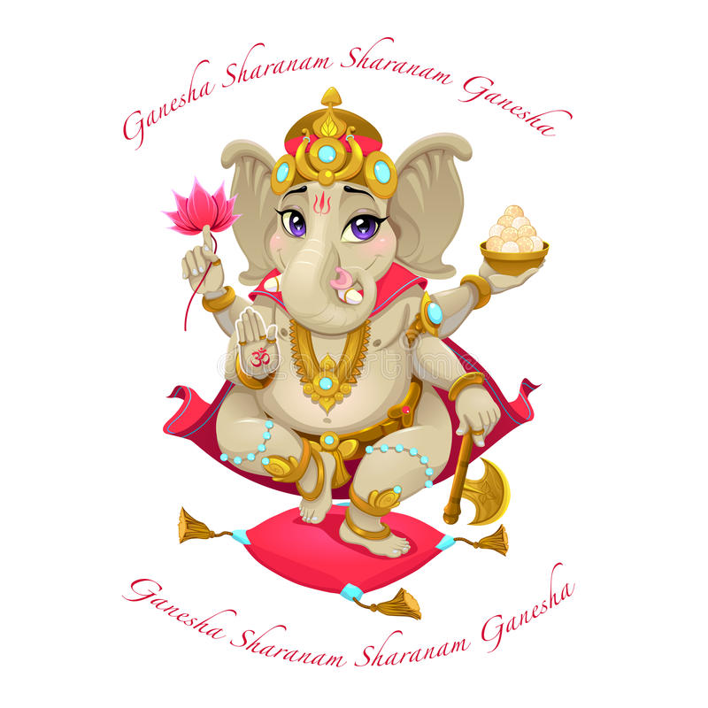 Αντιπροσώπευση κινούμενων σχεδίων του ανατολικού Θεού Ganesha, με τη μάντρα απεικόνιση αποθεμάτων