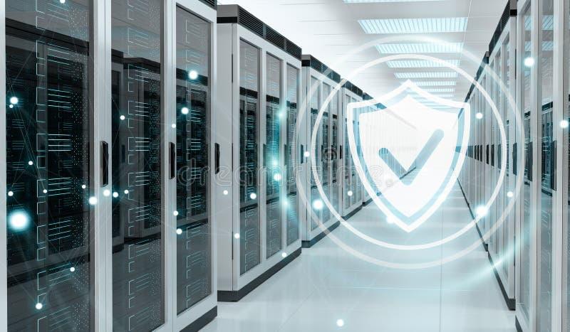 Αντιπυρική ζώνη που ενεργοποιείται στην τρισδιάστατη απόδοση κέντρων δεδομένων δωματίων κεντρικών υπολογιστών διανυσματική απεικόνιση