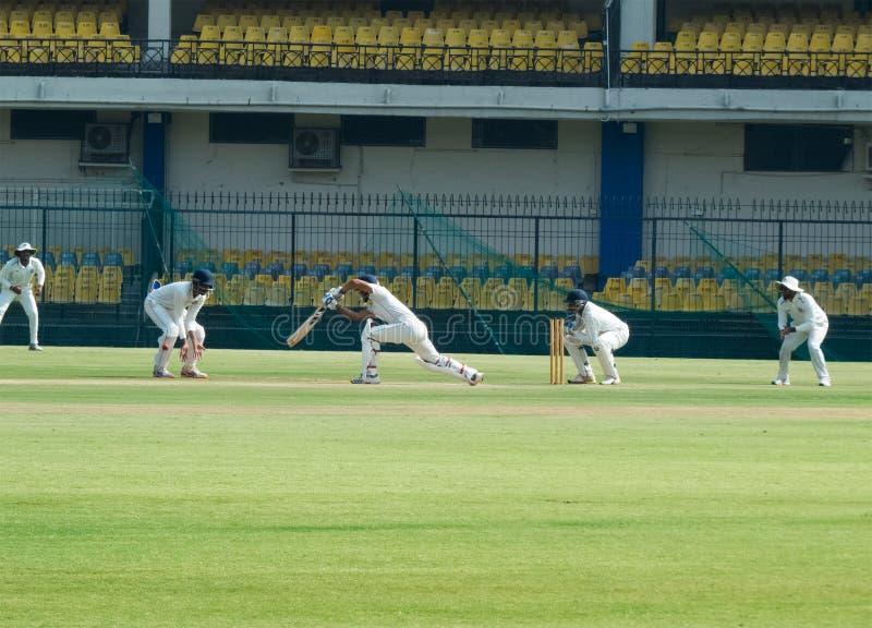 Αντιστοιχία γρύλων δοκιμής, πράσινο Outfield, Ινδία στοκ φωτογραφίες