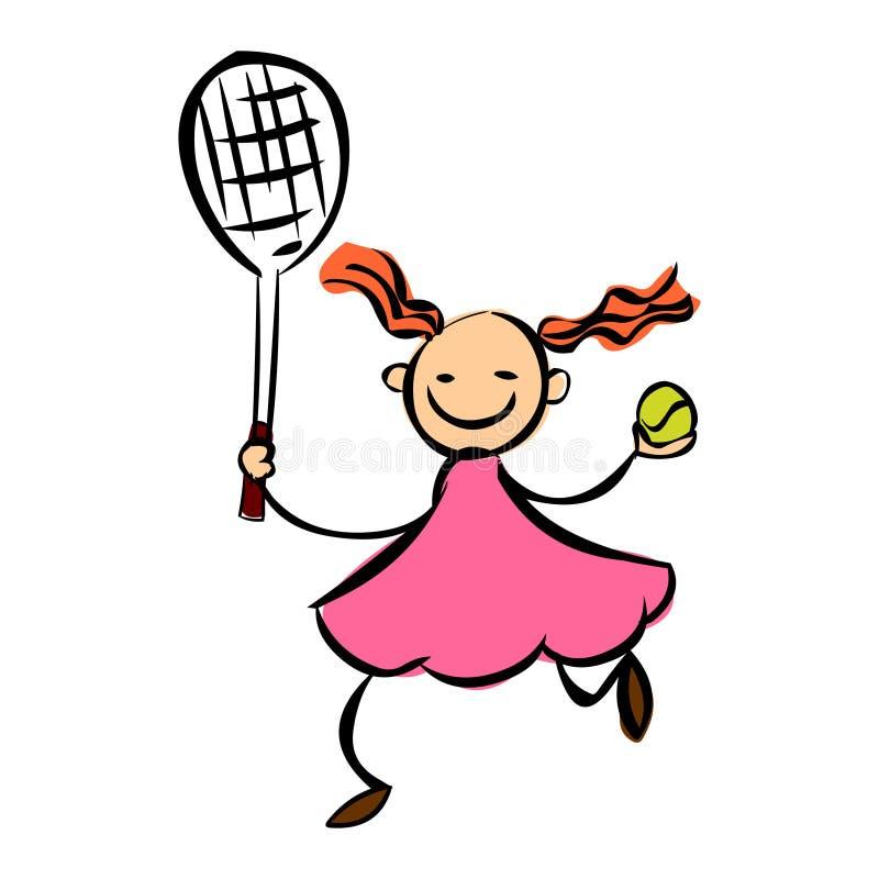 αντισφαίριση κοριτσιών Κινούμενων σχεδίων διανυσματικό illustartion αντισφαίρισης κοριτσιών παίζοντας απεικόνιση αποθεμάτων